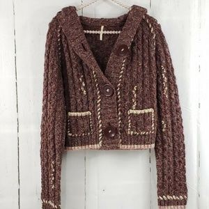 Free People Wool Blend Hooded Cardigan Sweater